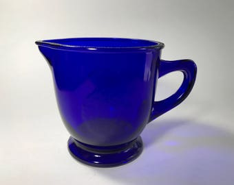Vintage Cobalt Blue Orange Juice Pitcher Kitchen Serving