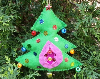 Christmas tree Shaped hand made felt vagina ornament for your rearview mirror Yoni Feminism  House Feminist Craft Gift Gay Lesbian LGBT