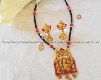 Temple jewelry-imitation jewelry-Mahalakshmi-indian jewelry-metal jewelry-thread jewelry-dori necklace-fashion jewelry-bahubali jewelry