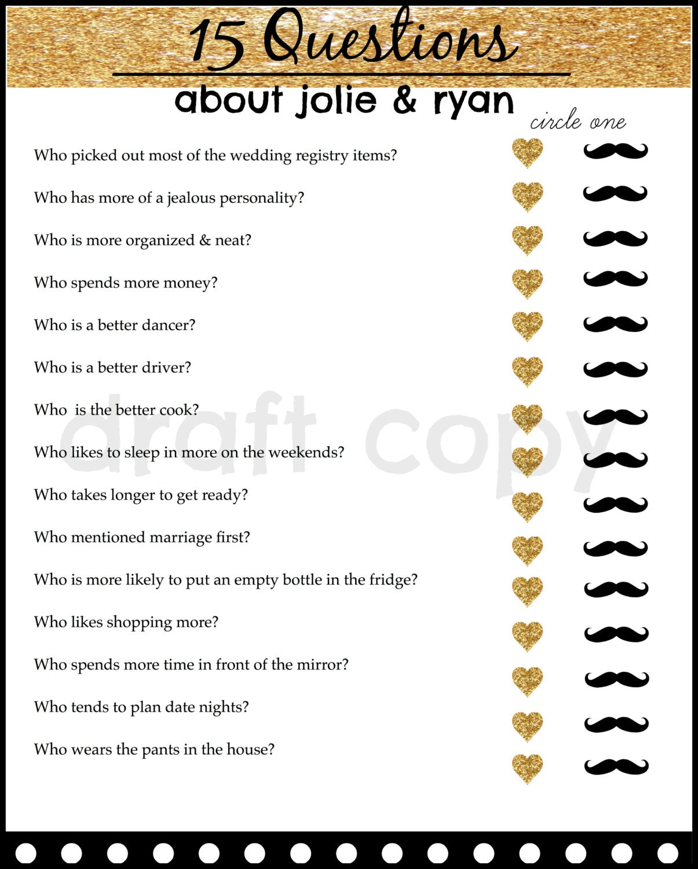 Bride And Groom Trivia