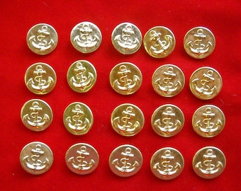 20 Gold Tone Metal Shank Buttons with Nautical Anchor for Pirate Costume