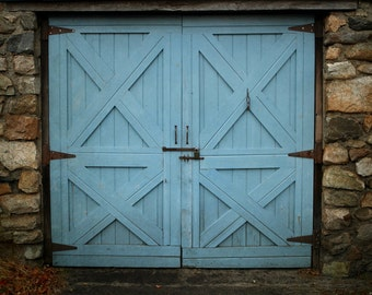 Rustic blue door photography, blue home decor, blue and gray wall art, vintage door, shabby chic cottage teal home decor