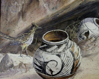 "Water Color : Mary Selfridge Artist, Mary Selfridge Art, Water Color, Titled ""Secrets"", Pot Shards. Feathers, #302"
