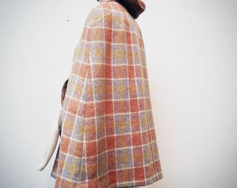 1960s Wool Plaid Cape with Gold Silk Lining, best for Small Frame