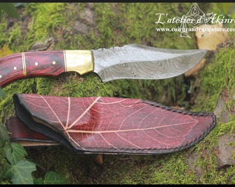 Damascus knife with leather sheath