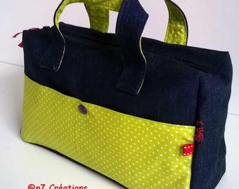 Toiletry bag in jeans pocket with lime green.