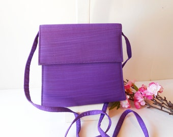 Purple Evening Bag, Vintage Handbag, Purple Handbag, Purple Taffeta,Special Occasion. Purple Clutch, Purple Purse EB-0410