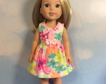 """Tropical hot pink sundress fits 14.5"""" Wellie Wishes doll"""