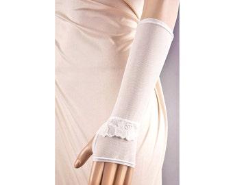Wedding IVORY Fingerless GLOVES with Roses Lace,Ivory Wedding Gloves,Long Lace Wedding Gloves,Long Wedding Gloves,Fingerless Wedding Gloves