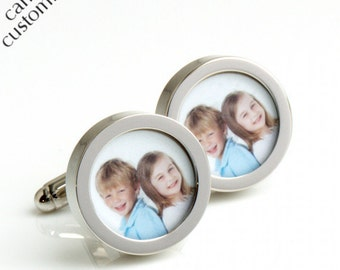 Personalized Photo Cufflinks of Your Children Gift for Fathers, Personalised Gift for Men, Personalised Photo Gift, Custom Photo Gift