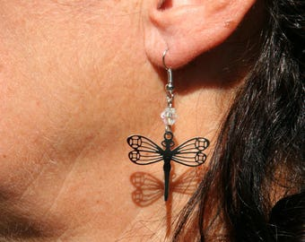 Dragonfly color tone earring