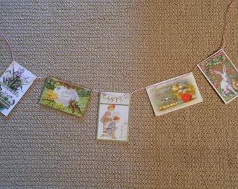 reproduction vintage postcard garland for Spring Easter