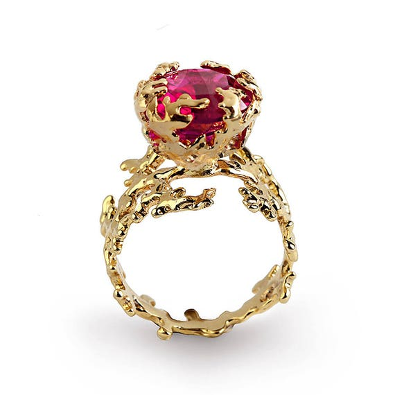 CORAL Ruby Engagement Ring Statement Ring Gold Ruby Ring
