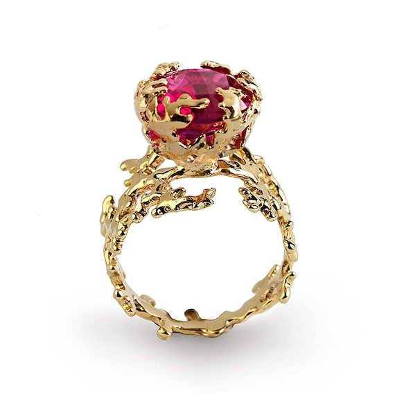 Coral ruby engagement ring statement ring gold ruby ring like this item junglespirit Image collections