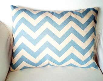 Azul funda de almohada decorativa de Chevron, fundas de almohada, Lumbar pueblo azul Natural Zig Zag Chevron, sofá cama, 12 x 16 o 12 x 18