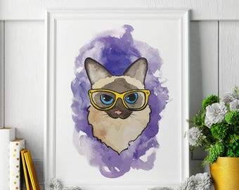 Siamese Cat - Watercolor Painting - Siamese Cat Art - Siamese Cat Painting - Siamese Cat Print - Animal Watercolor Print