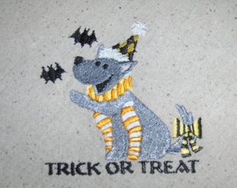 Happy Howl-o-ween Trick or Treat Husky Embroidered Kitchen Towel for Halloween