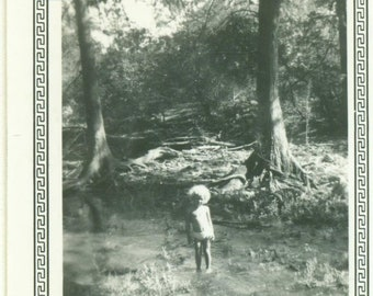 1948 Toddler Girl Playing in Stream Water San Antonio Tx 40s Vintage Photograph Black White Photo