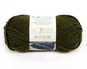 FOREST Bulky Yarn. All Things You Premium Acrylic. Solid Mossy Green Color. Solid Green. Soft Bulky Green Yarn. Same as Charisma Forest. √