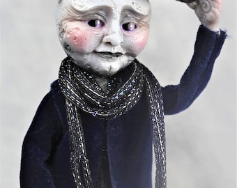 Mr. Artemis Moon-handmade, one of a kind, fantasy, whimsical, anthropomorphic, art doll, poseable doll, original character, cute, creature.
