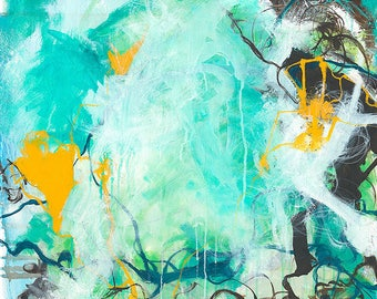 Beginnings - Square blue abstract expressionism painting