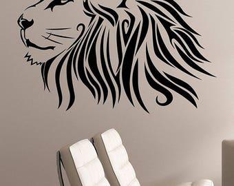 Lion Wall Art Decal Animal Head Vinyl Sticker Wildlife Decorations for Home Housewares Kids Living Room Bedroom Safari Decor ln5