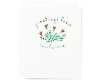 Greetings From California / California Card / California Poppy / Flower Card / Native Flowers / Screen Print Card / Hand Pulled Print