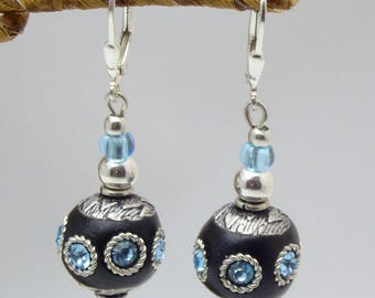 "Sterling silver French earrings ""Hiba"" with Cashmeer handmade beads and czechk glass beads."
