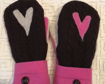 Repurposed Felted Sweaters Mittens-Hearts and Love