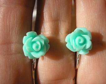"Play Earring - Clip or Pierced - Rosebud - Lt Turquoise - 3/8"""