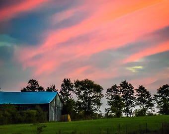 Pink Sky and Barn Photo