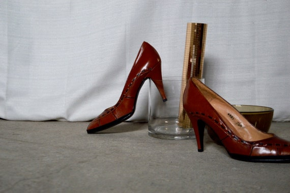 5 leather woven stilettos 38 woven leather heels heels toe pumps 7 80s heels brown boho pointed toe pointed heels O5qIwOSz