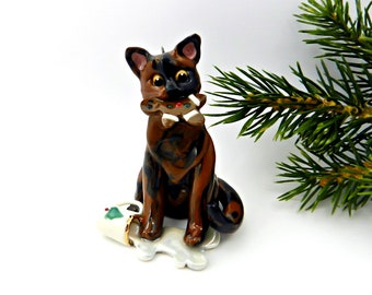 Tortoiseshell Cat PORCELAIN Christmas Ornament Figurine Santa's Milk Cooke OOAK