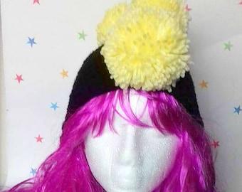 Mens Winter Hat, Pom Pom Mohawk, Ear-flap kids hat, Festival Beanie, Cosplay Costume, Tribal Headdress, Pomahawk Hat, Faux Hawk, Gag Gift