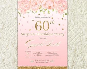Surprise 60th Birthday Invitation For Women, 60th Birthday Invite, Gold Glitter Watercolor Flowers Floral Birthday Invitation For Women