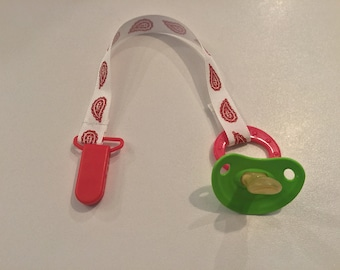 Red Wing Woven Ribbon Pacifier Clip