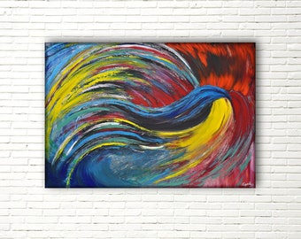 Large, abstract painting, hand painted on canvas; acrylic painting perfect for the wall decors of a living room and wedding gift.