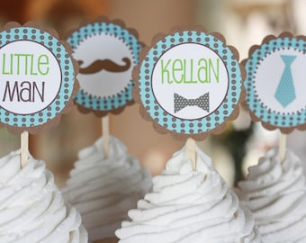 12 - Little Man Ties and Mustaches Theme Baby Shower Cupcake or Cake Toppers- Ask About our Party Pack Sale - Free Ship Over 65.00