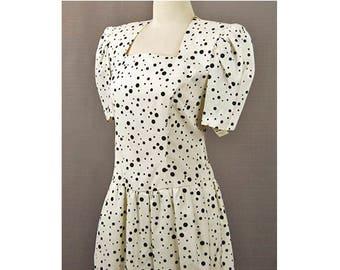 1980s David Warren New York for Bonwitt Teller White & Black Polka Dot Vintage Secretary Career Power Dress Size 8 NWT Never Worn Unsued