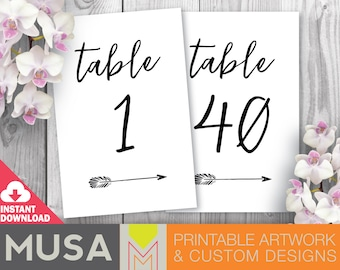 Wedding table numbers with arrow accent, size 4x6 and 5x7 included / INSTANT DOWNLOAD files