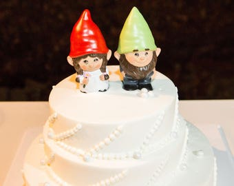 Gnome Wedding Cake Topper... The Gnomelyweds  Wedding gnomes Custom painted  ...... Gnomeo and his Juliet
