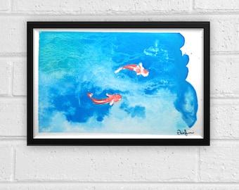 Koi Pond Watercolor Print