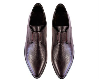 Oxfords Shoes - Oxblood Textured Leather Pointy Toe Flats. (All women sizes)