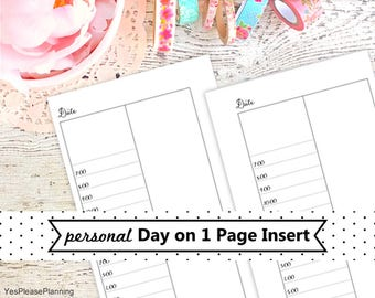 Printable Day on One Page Personal Planner Inserts / Ring Bound Planner Insert / Personal Do1p / Hourly Planner Printable / Daily Schedule