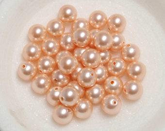 Peach Swarovski Pearls, #5810 Round 4mm and 6mm Peach Swarovski Pearls