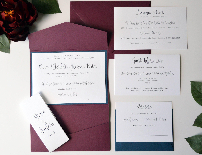 Burgundy Wedding Invitation Navy Wedding Invitation Burgundy