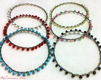 Beaded Silver Bangle Bracelets