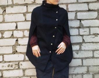 Black wool poncho, wool and cotton fabric cape, avantgarde capelet, gothic cape, warm poncho, fabric cape, black cape MASQ Custom made cape