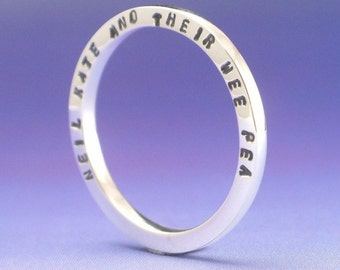 Lateral - Stackable Sterling Silver Stamped Ring. Custom Message