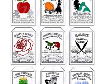 Fantasy Potion Labels -- Princess Potions; GIFT TAGS (2 x 3 inches)